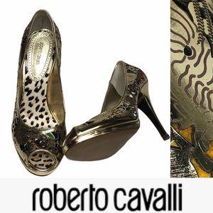 Roberto Cavalli Metallic Gold Carved PeepToe Heels